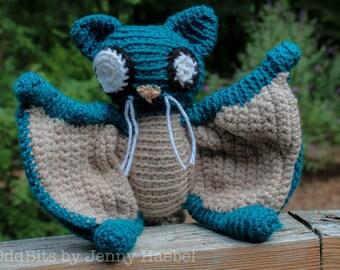 Flying Squirrel Crochet Amigurumi Oddbit - Blue & Gray