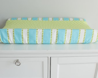 Aqua blue and lime green baby contour changing pad cover