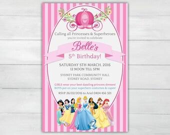 DISNEY PRINCESSES Girls Birthday Invitation - Personalised Birthday Invitation Pink! Princess Invitation for Girls Birthday
