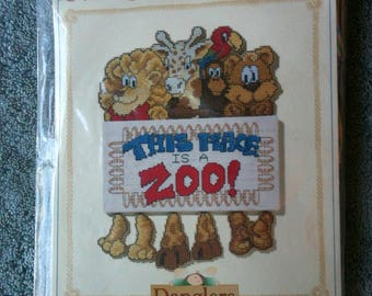 Vintge True Colors Danglers Cross Stich Kit Plastic Canvas Kit This Place is a Zoo Made in the USA 1996 Kit SRK70065 Needlepoint  h1