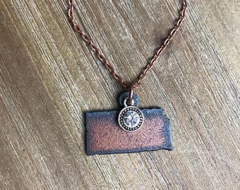 Kansas Rusted Metal Necklace | Rhinestone Charm | Antique Copper Chain