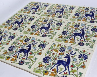 Ceramic Wall Tapestry, Trivet Ceramic Tiles, Mediterranean Tiles, Deer Ceramic, Wall Art Tile,  Ceramic Tiles, Ceramic Wall Tile, Deer Decor