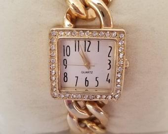 Vintage Gold Chain Watch, Ladies Wrist Watch, Paved Bezel Quartz, Square Shaped, Japan Movement, New Battery, Chic Ladies Watch