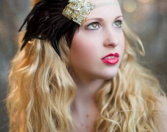 Gold & Silver Art Deco Feather Headband, Gold 1920s Headband, Flapper Headband, Great Gatsby Headband, Flapper Headpiece, Beaded Headband