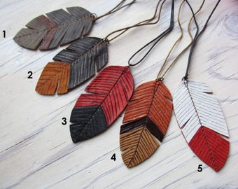 Pendant feather leather / boho painting feather necklace / red feather black feather brown feather