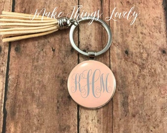 Initial Keychain, monogram keychain, personalized gift, tassel keychain, custom keychain, initial accessory, gifts for her, secret santa
