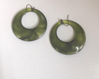 Minimalist Sage Vintage Hoop Dangle Earrings