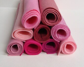 """Wool Felt Blend Collection of 9 Pink Colors Sheet Size is 9"""" x 12"""""""