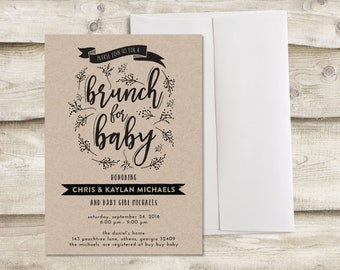 Brunch Baby Shower Invitation, Baby Shower Brunch Invitation, Brunch for Baby Shower Invite, Baby Shower Brunch Invitation Boy, Baby Brunch