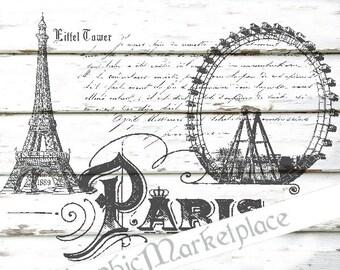 Paris Eiffel Tower French Script Instant Download Transfer Burlap Digital Collage Sheet Graphic Printable No