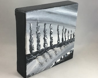 "Original Acrylic Painting: Thick Canvas, 6"" Square, Landscape of Trees and Water, Black and White, Abstract Art"