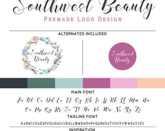 Watercolor Cactus Logo & Watermark Premade Design - Custom Business Branding / Personal Name Text Graphics - Alternates Included
