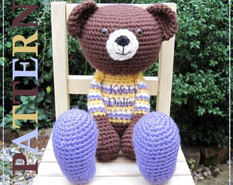 ENGLISH Instructions ONLY - Instant Download PDF Crochet Pattern Huggy Bear