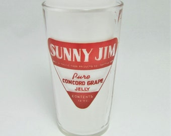 Sunny Jim Measuring Glass/ Jam Jelly Glass/ Adverstising/ 50s 60s/ Red/ Mid Century Kitchen Glass