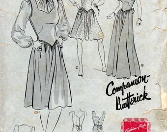 1940s Jumper & Blouse Pattern - Vintage Pattern Butterick 1282 - Bust 32 Basque Waist Guimpe Blouse