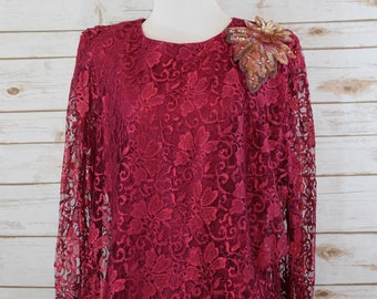 Clearance Vintage Red Lace dress