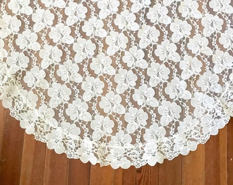 Vintage Round Lace Tablecloth • Small Sheer FLoral Lace Cloth • Bohemian Decor