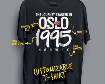 The Journey Started in Oslo, 1995 - Norway. Customizable T-shirt