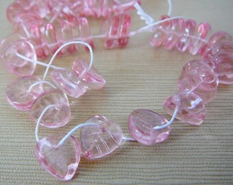 Pink Leaf Bead, Pressed Czech Glass, Pale Pink foliage