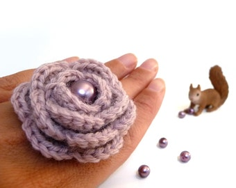 Dusty Pink Flower Ring, Crochet Wool Rose, Adjustable, Boho, Statement, Romantic Ring, Bridesmaid, Mothers Day, Anniversary, Valentines Gift