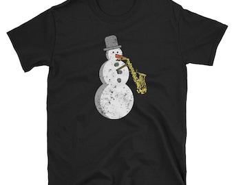 Snowman Saxophone Player Musician Funny Christmas Shirt