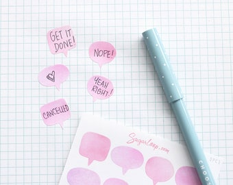 20 Speech Bubble Planner Stickers, Thought Bubble, Watercolor, Pink, Hand Painted, Planner Decoration, To Do, Reminders, Chores, SPC2