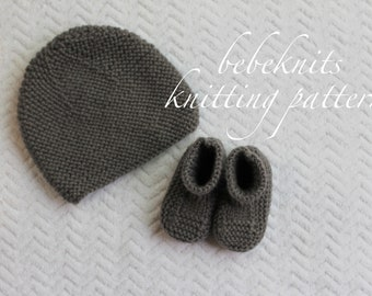 Bebeknits Baby Beanie and Boots Set Knitting Pattern