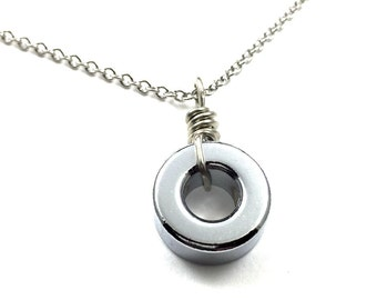 Circle Pendant Necklace Geometric Hardware Jewelry Industrial Hardware