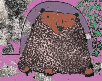 Brown bear print, cute bear, cuddly bear, hairy bear, bear decor, wild bear, gift for bear lover, bear drawing, bear themed art, nursery art