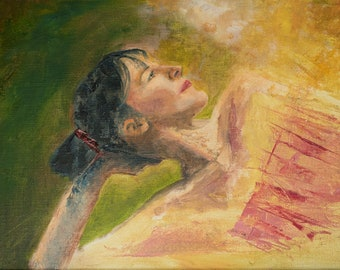 Lady in Waiting  original oil on canvas,  theatre fine art painting,portraiture oil painting,  femme pose fine art,