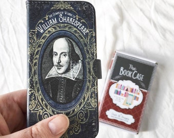 Book phone /iPhone flip Wallet case- William Shakespeare for  iPhone X, 8, 7, 6, 6 7 & 8 plus, 5,  Samsung Galaxy S9 S8 S7 S6 Note 4 5 7 8