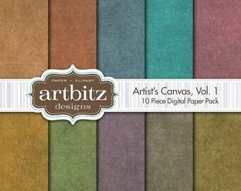 "Artist's Canvas Vol. 1 10 Piece Digital Scrapbook Paper Pack, 12""x12"", 300 dpi .jpg, Instant Download!"