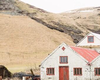 Barn Photography, Iceland Photography, Rustic, White Barn, Rural, Cottage Decor, Rustic Decor, Farmhouse Art, Travel, Barn Photo Art