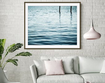 "Ocean water photography print, indigo blue wall art, peaceful minimal photograph water ripples wall art   ""Blue Pearl"""