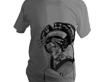 Japanese Skeleton Oiran Summer T-Shirt, Asphalt Grey, Men, Women, Unisex, Day of the Dead, Halloween, Gifts for Him or Her, Made in USA