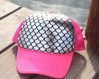 Mermaid Trucker hat, mermaid, mermaid baseball hat, mermaid Snap back hat, mermaid hat, metallic, mermaid, mermaid fashion, cute hat, pink