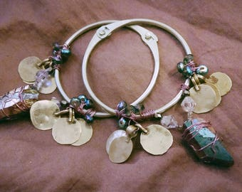 Hoop Earrings Wire Crystal Quartz Czech Glass Beads