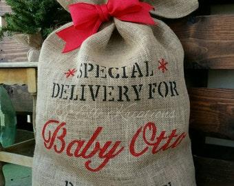 Baby Announcement Santa Sack, Custom Burlap Santa Sack, baby Santa's Sack, Burlap Santa Sack, Gift Bag, Santa Gift Bag, Bag,Christmas Bag