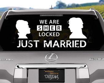 Sherlock Just Married Wedding Vinyl Window Cling Decal