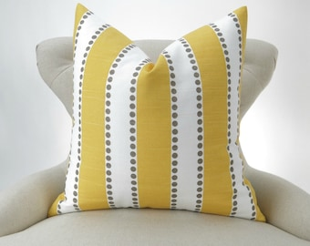 Yellow Stripe Pillow Cover -MANY SIZES- Lulu corn taupe kelp decorative throw euro sham custom cushion modern contemporary premier prints