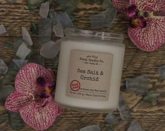 Sea Salt & Orchid Scented Candles, Eco Friendly, Vegan Soy Candle, Essential Oil Soy Candles, Vegan Gift, Wedding Gift, Gift for Her