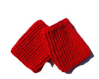 Red Boot Cuffs, Crochet Ribbed Boot Cuffs, Boot Toppers, Boot Socks, Leg Warmer, Boot Cuffs Thigh High Socks
