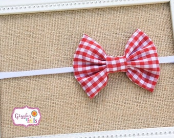 Red Gingham Bow Headband, Gingham Bow, Red Baby Headband, Nylon Headband, Red and White Headband, Red and White Checkered Headband
