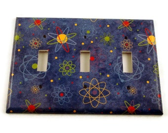 Space Themed Triple Light Switch Cover Switchplate Wall Decor  Switch Plate in Blue Atoms   (103T)
