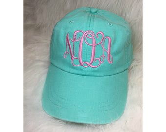 Monogram Baseball Cap with Interlocking Monogram - Monogram Hat - Monogram Cap - Personalized Hat