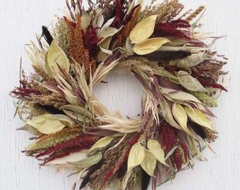 corn husk wreath with milkweed pods/dried flower wreath/dried flowers wreath/corn husk wreath/broom corn wreath/mixed grains wreath/wreath