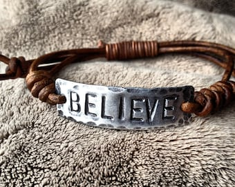 BELIEVE ID Bracelet, silver, leather, Hand Stamped Pewter, Inspirational jewelry, bracelet with words, affirmation