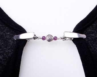 Cardigan clips - Silver spiral and purple bead sweater clip   Shawl chain   Pashmina pin   Sweater fastening   Wrap holder   Cardigan guard