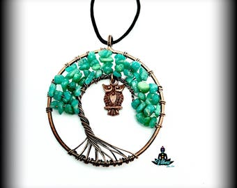 Amazonite Wire Tree of Life and Owl Cord Necklace