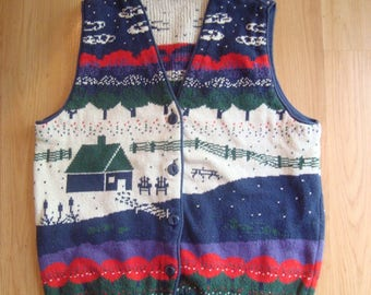 Northern Reflections Sweater Vest // Vintage knit Top // Medium // Summer Scene // Old School // Cottage // Loons // Canadian clothes